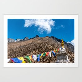 Prayer flags hang on a Buddhist structure in the Nepalese mountain side Art Print