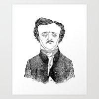 edgar allan poe Art Prints featuring Edgar Allan Poe by Sparganum