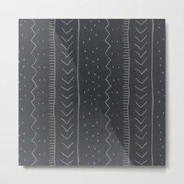 Moroccan Stripe in Charcoal Metal Print