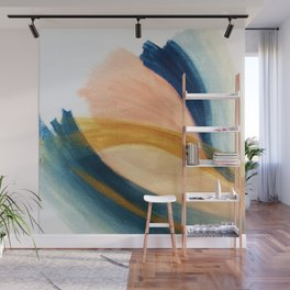 Slow as the Mississippi - Acrylic abstract with pink, blue, and brown Wall Mural