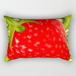 GREEN KIWI & RED STRAWBERRY ART Rectangular Pillow