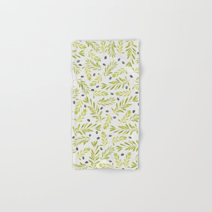 Watercolor Olive Branches Pattern Hand & Bath Towel