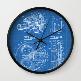 Movie Camera Patent - Film Camera Art - Blueprint Wall Clock