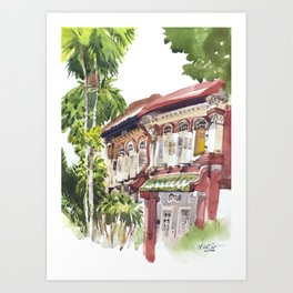 Red House on Emerald Hill Art Print