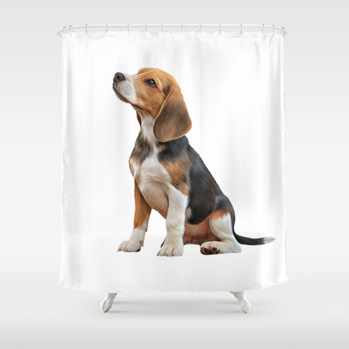 Drawing Puppy Beagle Shower Curtain