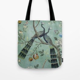 A Teal of Two Birds Chinoiserie Tote Bag