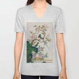 Minhwa: Birds and Royal azalea (Korean traditional/folk art) Unisex V-Neck