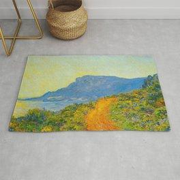Claude Monet Impressionist Landscape Oil Painting La Corniche near Monaco Rug