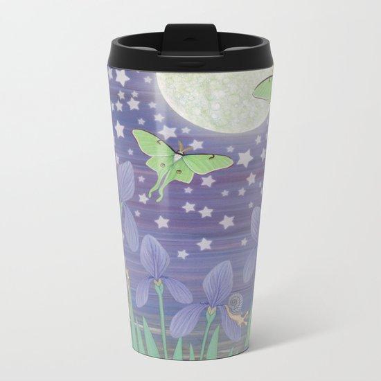 Moonlit stars, luna moths, snails, & irises Metal Travel Mug