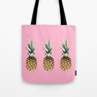 pineapples Tote Bags featuring Pineapples by Yilan