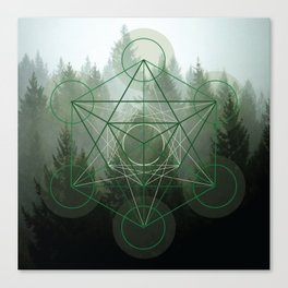 Pine Tree Sacred Geometry Canvas Print