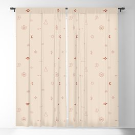 Southwestern Symbolic Pattern in Coral & Cream Blackout Curtain