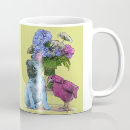 Pug, Chicken, and Hydrangeas Coffee Mug