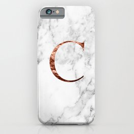 Monogram rose gold marble C iPhone Case