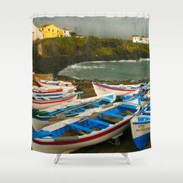 Portuguese harbour Shower Curtain