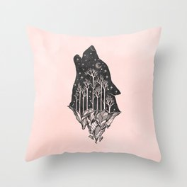 Adventure Wolf - Nature Mountains Wolves Howling Design Black on Pale Pink Throw Pillow
