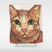 meow Shower Curtains featuring Meow by Noreen Loke