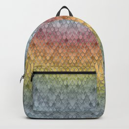 Colorful Fall Mermaid Scales Pattern silver Backpack