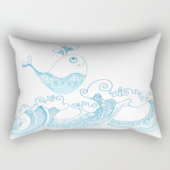 Doodle fish jumping out of the water- Maritime Sea Animal Rectangular Pillow