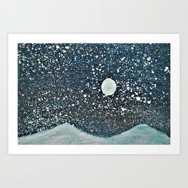 Moonlight Snow Art Print
