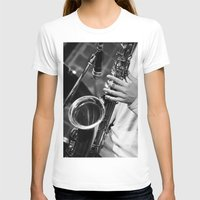 saxophone T-shirts featuring Jazz and Saxophone by cinema4design