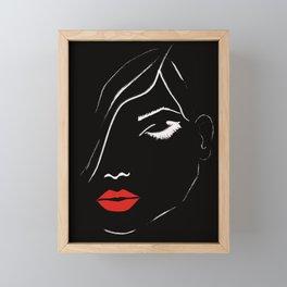 eyelashes and lips fashion illustration Framed Mini Art Print