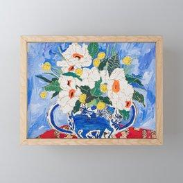 Queen of California - Giant Matilija Poppy Bouquet in Lion Vase on Blue Framed Mini Art Print