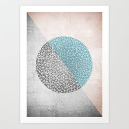 Geomertic Doodle Rose Art Print