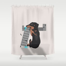 Attack of the Enormous Dachshund!!! Shower Curtain