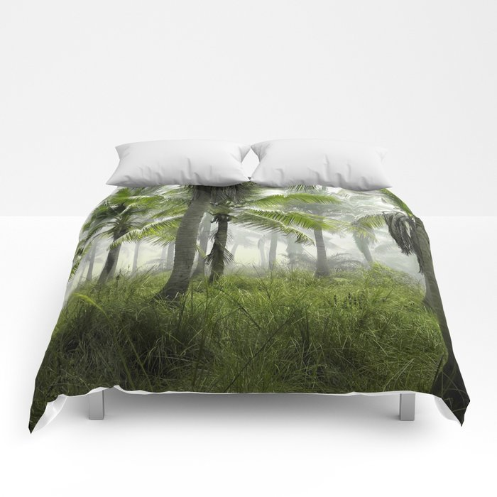 Foggy Palm Forest Comforters