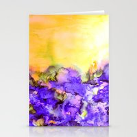 jazzberry Stationery Cards featuring INTO ETERNITY, YELLOW AND LAVENDER PURPLE Colorful Watercolor Painting Abstract Art Floral Landscape by EbiEmporium