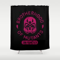 magneto Shower Curtains featuring Bad Boy Club: Brotherhood of Mutants  by Josh Ln