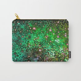 RAINBOW DOTTY OCEAN 3 Green Lime Ombre Space Galaxy Colorful Polka Dot Bubbles Abstract Painting Art Carry-All Pouch