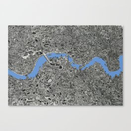 Map of London Thames Drawing Canvas Print