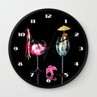 cocktail Wall Clocks featuring Cocktail by Simone Gatterwe