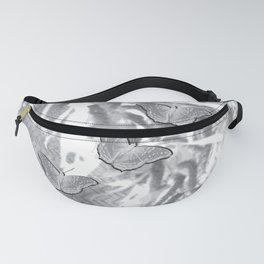 Butterflies in a gray abstract landscape Fanny Pack
