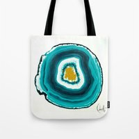 agate Tote Bags featuring Agate Turquoise  by Xchange Art Studio
