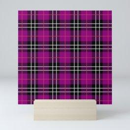 pink purple plaid pattern Mini Art Print