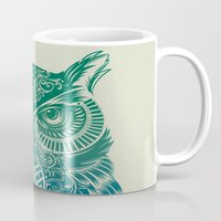 lines Mugs featuring Warrior Owl by Rachel Caldwell