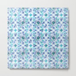 Delicate abstract kaleidoscopic pattern in white and blue colours. Metal Print