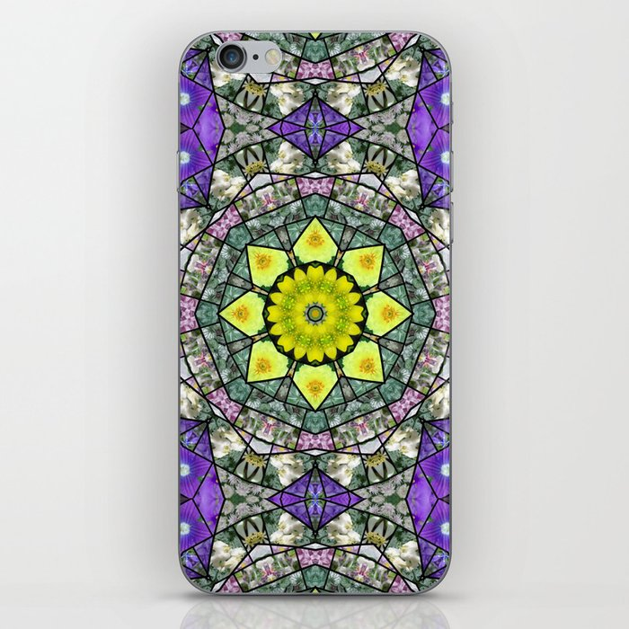 Garden mosaic - soft blue and green kaleidoscope with a star of gold iPhone Skin
