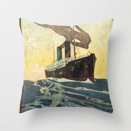 Orient Royal Mail Route to Australia Vintage Travel Poster Throw Pillow