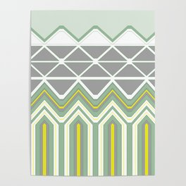 Grey Lime Green Geo Pattern Poster