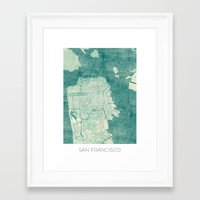 san francisco map Framed Art Prints featuring San Francisco Map Blue Vintage  by City Art Posters