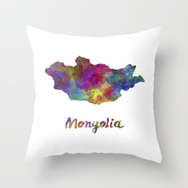 Mongolia in watercolor Throw Pillow