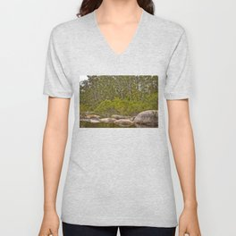 Peaceful river view with rocks Unisex V-Neck