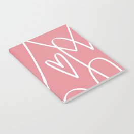 Doodle Hearts in Pink by Friztin Notebook