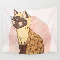 nan lawson Wall Tapestries featuring Hip Cat by Nan Lawson
