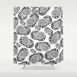 Modern hand drawn black white watermelon pattern Shower Curtain