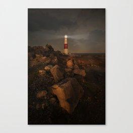 Evening Coast With Lighthouse Canvas Print